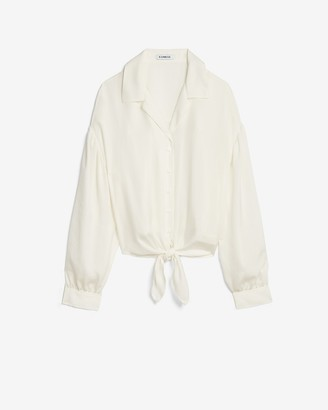 Express Satin Tie Front Cropped Shirt