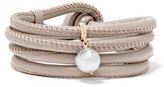 Mizuki Convertible 14-karat Gold, Leather And Pearl Wrap Bracelet - Gray