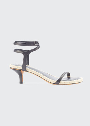 3.1 Phillip Lim Calfskin Ankle-Wrap Espadrille Sandals