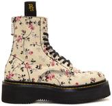 R 13 Ecru Floral Stack Boots