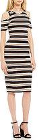 Soprano Striped Ribbed Knit Cold-Shoulder Midi Sheath Dress