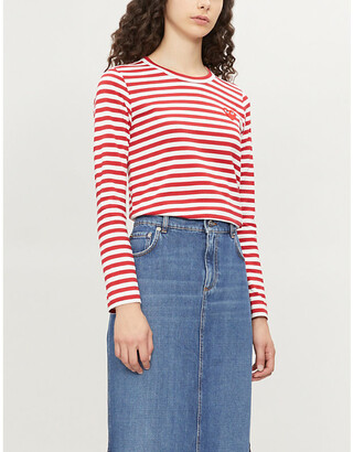Comme des Garcons Heart patch striped cotton-jersey top