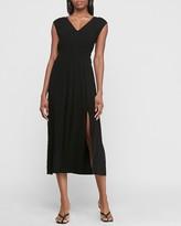 Express Smocked Waist V-Neck Midi Dress