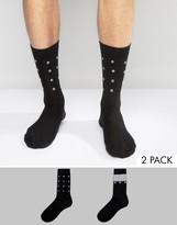 Asos Socks With Glitter Eyelet Detail 2 Pack