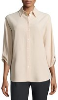 Michael Kors 3/4-Sleeve Button-Front Blouse, Nude