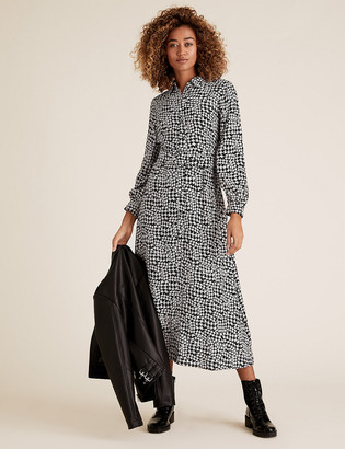 Marks and Spencer Dogtooth Belted Midaxi Shirt Dress