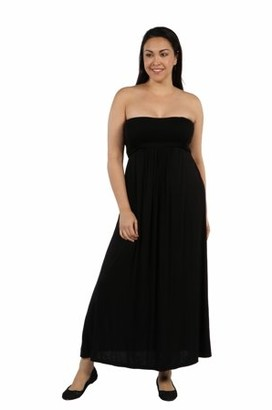 24/7 Comfort Womens Plus Size Belted Empire Waist Strapless Maxi Dress