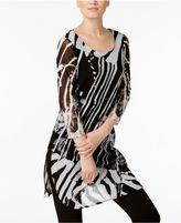 Alfani Jungle Printed Mesh Tunic, Created for Macy's