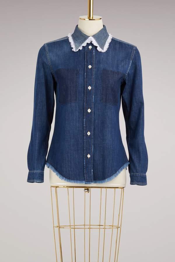 Miu Miu Denim Shirt With Sangallo Details