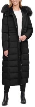 Calvin Klein Petite Maxi Faux-Fur-Trim Hooded Puffer Coat