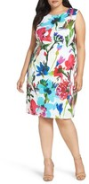 Ellen Tracy Plus Size Women's Floral Scuba Sheath Dress