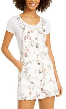 Tinseltown Juniors' Floral-Print Button-Front Skirtall