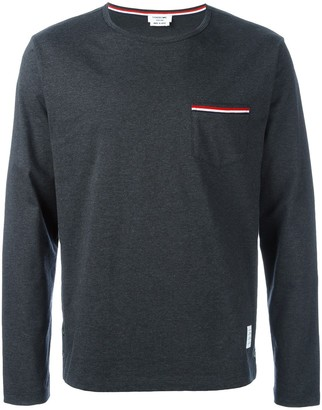 Thom Browne Rwb Pocket Trim Long-Sleeve Tee