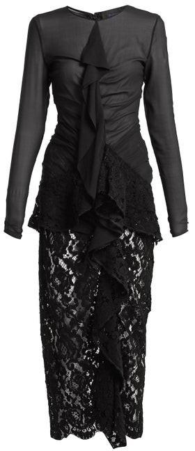 Proenza Schouler Ruffle Front Lace Dress - Black