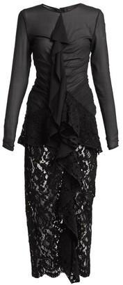 Proenza Schouler Ruffle Front Lace Dress - Womens - Black