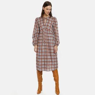 Compania Fantastica Checked Smock Midi Dress with Puff Sleeves