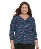 Dana Buchman Plus Size High-Low V-Neck Top