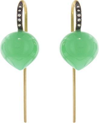 Cathy Waterman Chrysoprase Forest Dew Drop Earrings - Yellow Gold