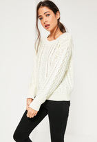 Missguided White Chunky Cable Knit Sweater