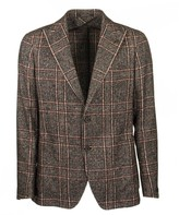 Tagliatore Two-button Plaid Jacket In Red And Brown Blazer