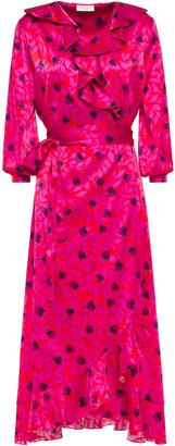 Yolke Ruffled Floral-print Stretch-silk Satin Robe