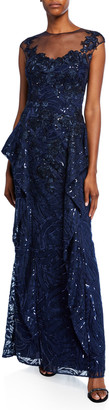 Rickie Freeman For Teri Jon Sweetheart Illusion Cap-Sleeve Sequin Lace Side-Fall Peplum Gown