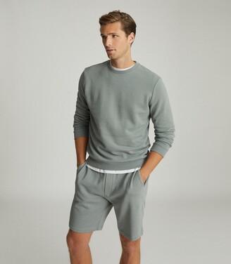 Reiss Joseph - Garment-dye Sweatshirt in Dark Sage