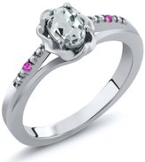 Gem Stone King 0.45 Ct Oval Sky Blue Aquamarine Pink Sapphire 18K White Gold Ring