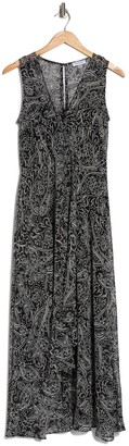 Calvin Klein Mock Wrap Paisley Midi Dress