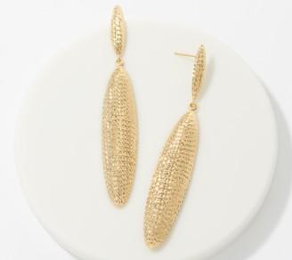 Gold One 1K Gold Linear Diamond Cut Drop Earrings