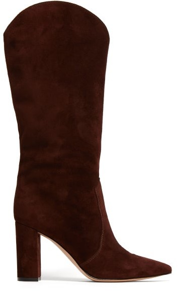 Gianvito Rossi Navarre 85 Suede Boots - Womens - Dark Brown