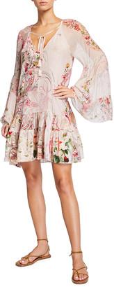 Camilla A-line Gathered Panel Silk Dress