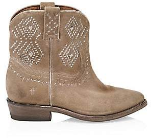 Frye Women's Billy Studded Suede Short Cowboy Boots