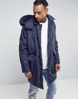 Asos Hooded Trench Coat In Blue