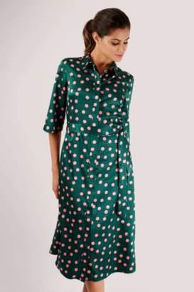 Closet London Green A-Line Shirt Dress - 8 | polyester | green - Green/Green
