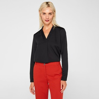 Esprit Long-Sleeved Pleated V-Neck Blouse