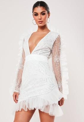 Missguided White Embellished Lace Frill Sleeve Mini Dress