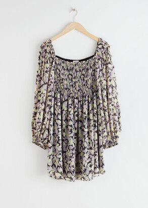 And other stories Voluminous Floral Smocked Dress