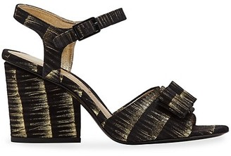 Salvatore Ferragamo Violet Metallic Leather Sandals