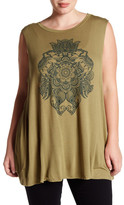 Hip Sleeveless Floating Lotus Tank (Plus Size)