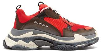 Balenciaga Triple S Low Top Trainers - Mens - Black Red