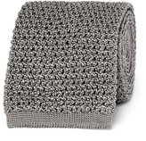 Tom Ford 7.5cm Knitted Silk Tie - Light gray
