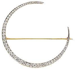 Renee Lewis Women's 18K Yellow Gold & Antique Diamond Crescent Moon Brooch
