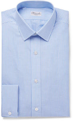 Charvet Blue Striped Slub Cotton And Linen-Blend Shirt