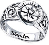 "Unwritten Wander"" Compass Ring in Sterling Silver"