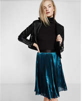 Express metallic pleated midi skirt