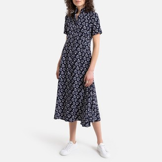 See U Soon Floral Print Maxi Dress with Grandad-Collar and Short Sleeves