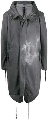 Army Of Me stained hooded coat