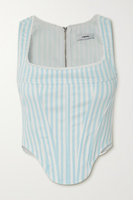 Miaou Campbell Lace-trimmed Striped Denim Bustier Top - Light denim