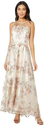 Tahari ASL Sleeveless Embroidered Halter Long Gown (Rose Gold) Women's Dress